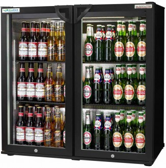 EcoChill double Back Bar Bottle Cooler black hinged door