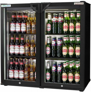 EcoChill double Back Bar Bottle Cooler black hinged doors 2