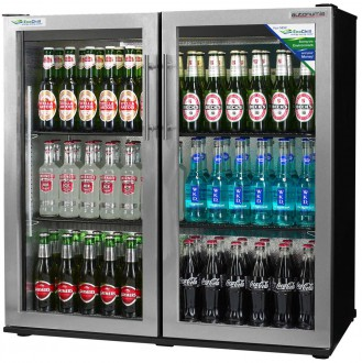 EcoChill double Back Bar Bottle Cooler swing door stainless side