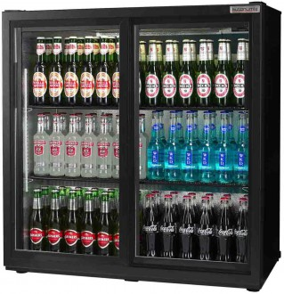 Popular 3ft Double Back Bar Bottle Cooler sliding doors black