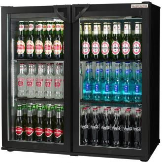 Popular Double Back Bar Bottle Cooler swing door black