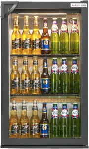 Popular Single Back Bar Bottle Cooler black swing door front view
