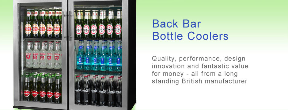 A range of back bar bottle coolers sometimes called bar fridges or bottle cabinets