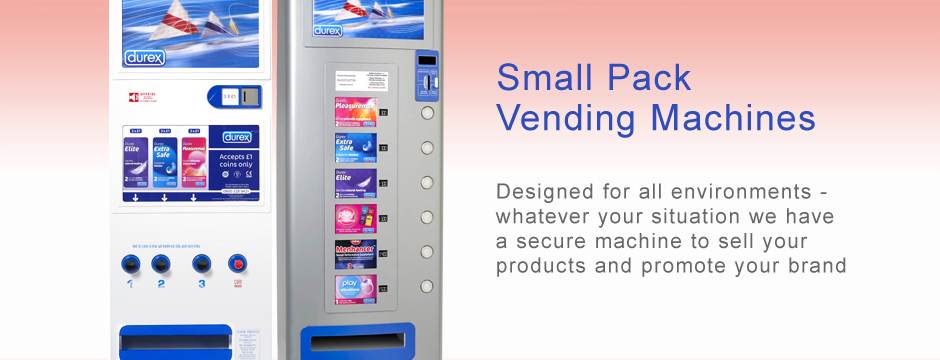 Small pack vending machine for condoms